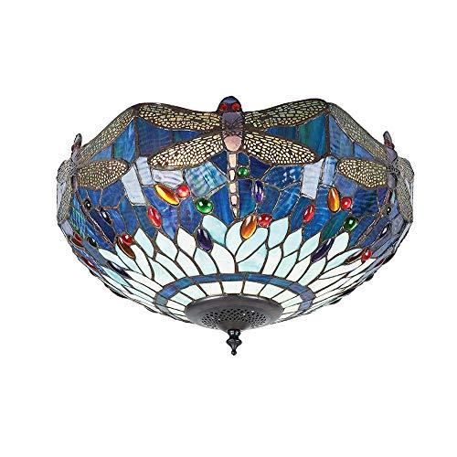 LYDQ Tiffany Stil Modern Deckenleuchte Kreativ Deckenlampe Einfach Blau Libelle Muster Wohnzimmer Schlafzimmer Deckenbeleuchtung Gute Qualität Glas Innenbeleuchtung,40cm
