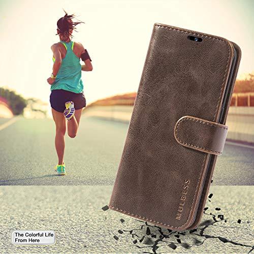 Mulbess Handyhülle für Huawei Y6 2019 Hülle, Leder Flip Case Schutzhülle für Huawei Y6 2019 / Honor 8A Tasche, Vintage Braun