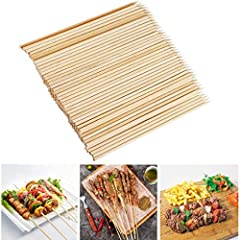 🍖 Skewers with Φ 0.16 Inch, length of 8 inch, pack of 100, with free 10 pairs of Gloves 🍖 100% Natural environment friendly bamboo skewers; 🍖 Suitable for kitchen. Camping picnics, barbecue parties, weddings, family gatherings, and friends' best choi...