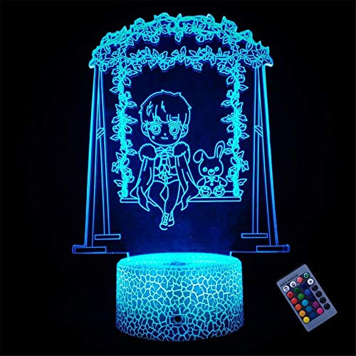 Luz de noche 3D para niños, lámpara de mesa con interruptor táctil Le Petit Prince con función de control remoto, decoración de dormitorio infantil, regalos de cumpleaños personalizados para niño