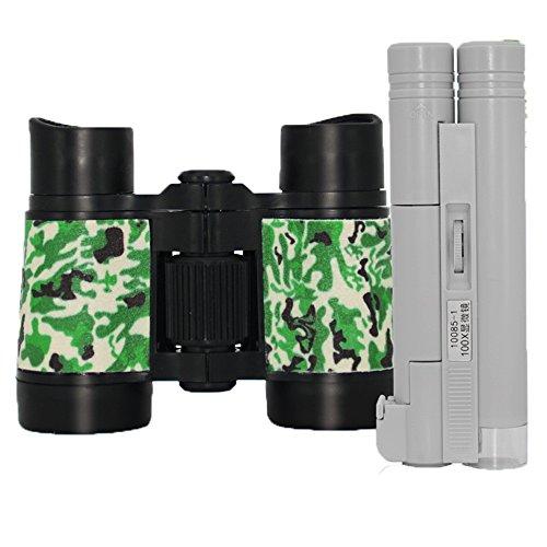 PIGE Télescope pour Les Enfants débutants Poche Jumelles Enfants-Scope pour Observer Les Oiseaux Activités en Plein air Léger Beau Jouet coloré (Couleur : #4+Microscope)