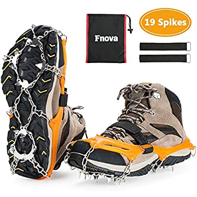 Fnova 19 Spikes Traction Cleats Crampons Ice Snow Grips for Walking, Jogging, Climbing and Hiking (Orange, Medium)