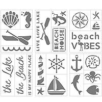 マルチメディア粘着バックビーチとレイクステンシルセット 6シート 6×8インチ