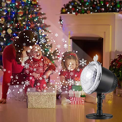 Luz Navidad Lámpara de Proyección de Tormenta de Nieve Luz LED Impermeable y Control Remoto Múltiples Modos Proyector De Copo De Nieve Giratorio Romantico para Navidad y Fiestas