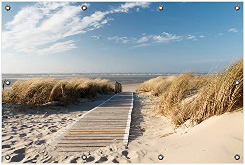 Wallario Garten-Poster Outdoor-Poster, Auf dem Holzweg zum Strand in Premiumqualität, für den Außeneinsatz geeignet