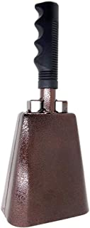 10 in. steel cowbell/Noise makers with handles. Cheering Bell for sporting, football games, events. Large solid school hand bells. Cowbells. Percussion Musical Instrument. Cow Bell Alarm (Copper)