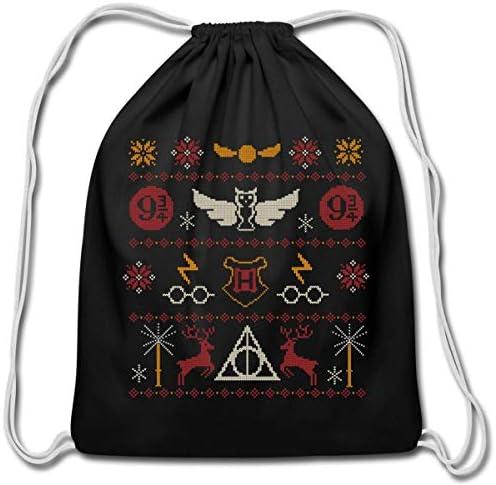 Harry Potter Ugly Christmas Sweater Design Cotton Drawstring Bag black product image