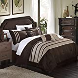Chic Home Torino Pleated Piecing Luxury Bedding Collection 7-Piece Comforter Set, Queen, Colore: Tortora