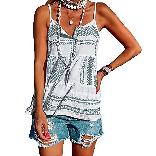 Camisola Mujer Sexy Moda Estampado Sin Mangas Mujer Blusa Verano Playa Vacaciones Fiesta Casual Nuevas Mujer Top Elegante Mujer Camiseta E-Grey M