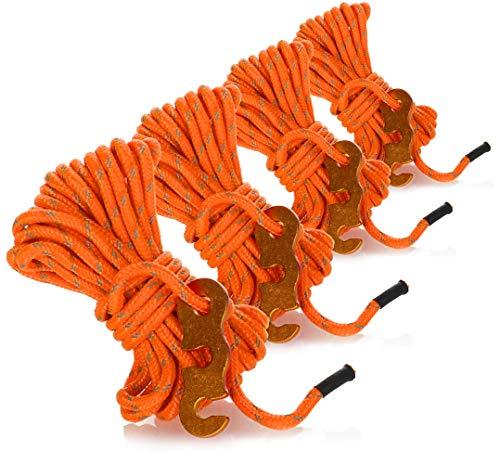 com-four Cuerda de sujeción 4X para Acampar, Reflectante en Naranja - Cuerda de Tienda Luminosa - Cuerda de tensión - Cuerda de Camping - Tensor de Cuerda