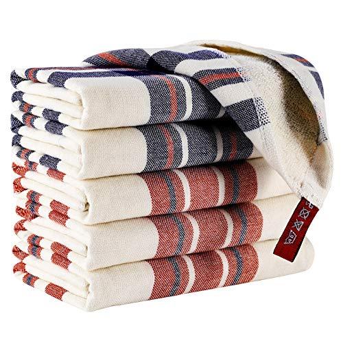 EliteBond - Set di asciugamani in cotone, asciugamani da cucina e strofinacci, set da 6 pezzi, 33 x 33 cm