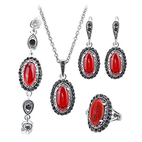 KUNHAN Juegos de Joyas Mujer 4pcs / Lot Boho Jewelry Sets Collar de Piedra roja y Anillo de Pulsera de Pendiente para Las Mujeres Conjunto de joyería de Moda-Rojo_8