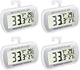 AEVETE 4 Pack Waterproof Digital Refrigerator Thermometer Large LCD, Freezer Room Thermometer with Magnetic Back, No Frills Easy to Read
