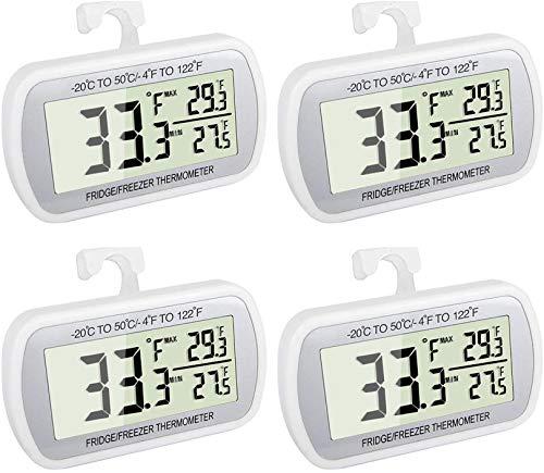Termómetro digital impermeable para nevera, grande, LCD, termómetro para congelador, con parte trasera magnética, sin volantes, fácil de leer, Paquete de 4 blanco