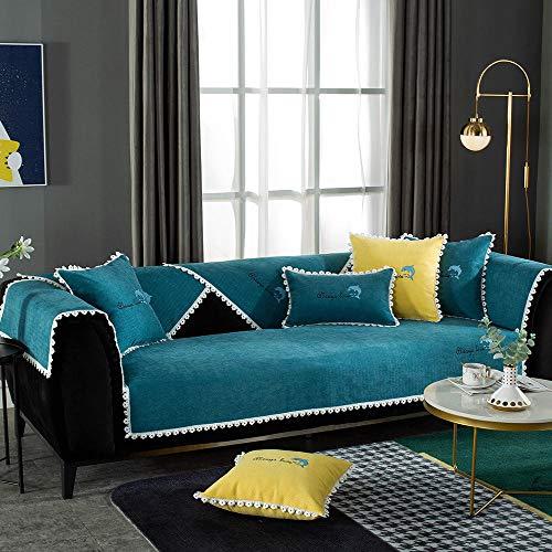 YUTJK Funda se Puede Empalmar de Sofá Funda para sofá Antideslizante Protector Cubierta de Muebles,para sofá de Tela,Cojín de sofá Bordado de Chenille Dolphin,Verde Oscuro_45×45cm(Cubierta de almoh