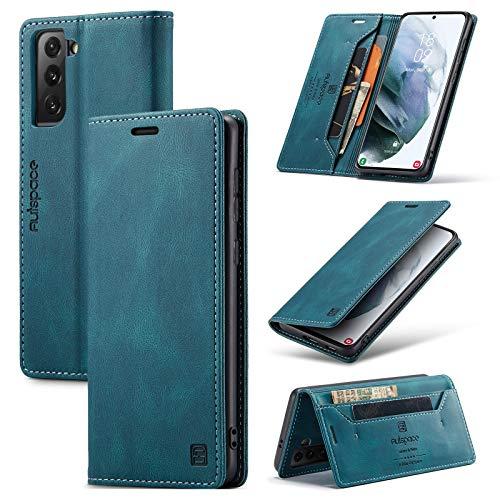 Bolso de un teléfono portátil Funda multifunción mate de cuero suave para Samsung Galaxy S21 Plus, 2 en 1 Funda de cubierta de la billetera magnética de 2 en 1, estuche de cubierta inferior TPU con ra