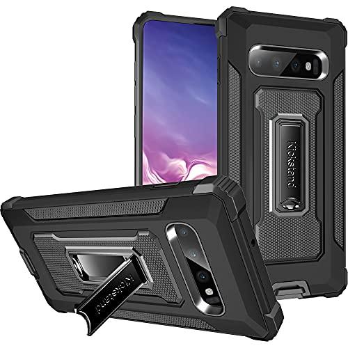 Funda para Samsung Galaxy S10 Plus, funda para teléfono móvil de TPU suave silicona con soporte antigolpes, antiarañazos, calidad militar, protección contra caídas, para Samsung S10 Plus (negro)
