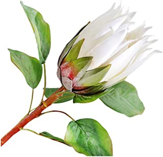 BQEE Artificial Flowers Living Room Table Decor Flower Home Silk Protea cynaroides Wedding Decoration (S-White)