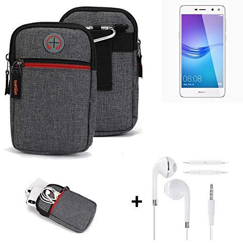 K-S-Trade® Gürtel-Tasche + Kopfhörer Für -Huawei Y6 (2017) Single SIM- Handy-Tasche Schutz-hülle Grau Zusatzfächer 1x