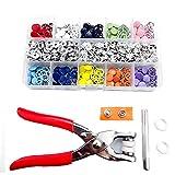Prong Snap Botones Press Kit Snaps Grommets Sujetadores Determinado del Metal con Unos alicates para Coser Ropa de Bricolaje de reparación Coloridas 200PCS Duradero