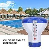 aniceday Flotador de Cloro de Piscina Dispensador de tabletas de Cloro de Piscina Clorador Flotante con termómetro para Limpieza de Piscinas