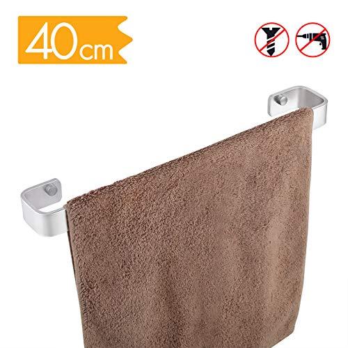 KES keukenhanddoek houder 40 cm vierkant geen boor aluminium badkamer handdoek spoor roestvrijstalen muur montage schoen rack mat zilver afwerking, A4300S40DG