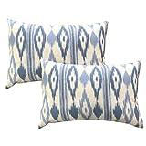 TRESMESTRES Fundas de Cojines 30x50 - Decoración Ikat - Decorativos para Sofá o Almohadas/Almohadones para Cama - Diseño Mediterráneo - Funda Cojín 30 x 50 cm 2 Pack, Azul Cielo
