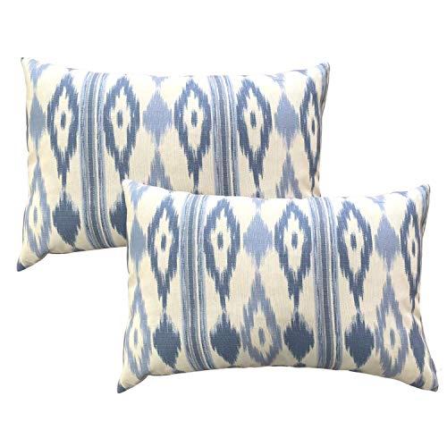 TRESMESTRES Fundas de Cojines 60x40 - Decoración Ikat - Decorativos para Sofá, Almohadas/Almohadones para Cama - Diseño Mediterráneo - Funda Cojín 40x60 cm, 2 Pack, Azul Cielo
