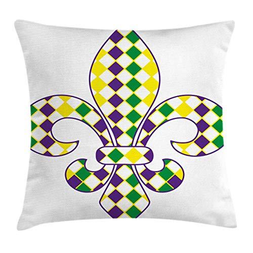 Funda de cojín de flor de lis con patrón tradicional de festival, funda de almohada cuadrada para sofá, cama, silla, sofá, decoración de 45,7 x 45,7 cm