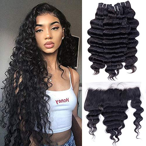 Brazilian Loose Deep Wave Bundles with Frontal 13x4 Ear to Ear with Baby Hair(14 16 18+12 Frontal) 10A Unprocessed Loose Deep Curly Weave Virgin Human Hair Bundles and Frontal