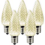 C9 Christmas Lights LED Bulb by MIK Solutions (Pack of 25) Soft Warm White Replacement Christmas Light Bulbs Faceted Retrofit Candle Shape Commercial Grade E17 Socket Roof Lights Bulbs