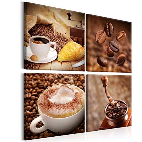 decomonkey Bilder Kaffee Coffee 4 Teilig- jedes Teil 30x30 cm | Leinwandbilder Bild auf Leinwand Vlies Wandbild Kunstdruck Wanddeko Wand Wohnzimmer Wanddekoration Deko Küche