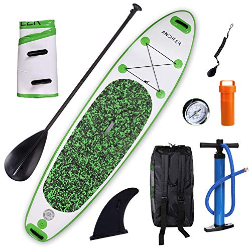 ANCHEER Inflatable Stand Up Paddle Board 10', Non-Slip Deck, Double Layer Military Grade PVC iSUP Boards Package Plus Adjustable Paddle, Coil Leash, Hand Pump Perfect for Cruising, Yoga, Fishing