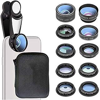 DZSF 10 i 1 linssats HD Fisheye vidvinkel makro 2X teleskop mobiltelefonkamera fotograferingstillbehör Android 7/6/6S Plu...