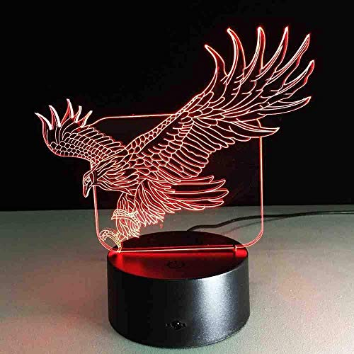 Nachtlicht 3D Flying Big Eagle Nachtlicht 7 Colourful Hawk 3D Für Office Hotel Schlafzimmer Bar Mood Lamp Touch Sensor