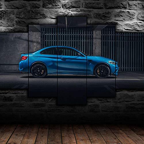 AWER 5 Piezas Imprimir Lienzo de Pintura Lado del coche deportivo M2 Cuadro decoración Estilo Piasaje Pintura para Arte de Listo para Colgar en un Marco