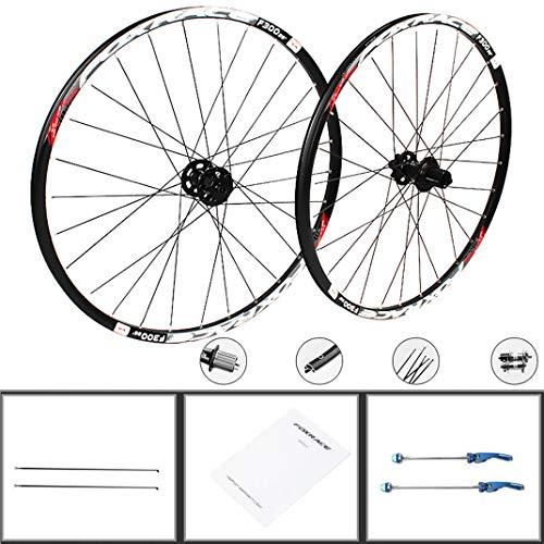 GJZhuan Ruedas de Bicicleta de Montaña 26/27,5 Pulgadas, Aluminio Bicicleta de Montaña Rueda Juego Freno de Disco Rápida Liberación Carbono Hub de Fibra 24 Agujero 7/8/9/10/11 Velocidad