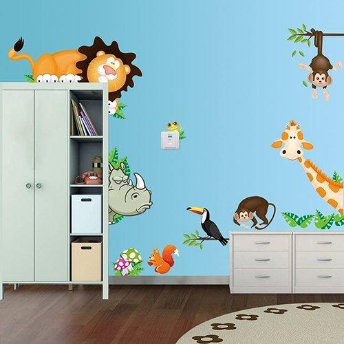 Bluelans® Stickers muraux pour chambre d'enfant Motif jungle sauvage