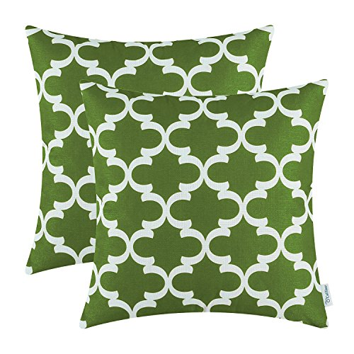 CaliTime Pack of 2 Soft Canvas Throw Pillow Covers Cases for Couch Sofa Home Decor Modern Quatrefoil Accent Geometric 20 X 20 Inches Olive Green