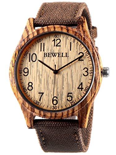 Alienwork Herren Damen Armbanduhr Quarz braun mit Canvas-Armband gelb Holzuhr Natur-Holz