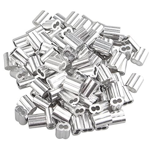 Mangas de Aluminio,100 PCS Clips de Aluminio para Prensar de Valla de...