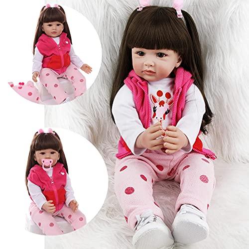 ZIYIUI Realista 24 Pulgadas 60 cm Muñecas Reborn bebé Recién Nacido Silicona Suave de Vinilo Realista Pelo largo Bebé Reborn niña Regalo de cumpleaños para niños