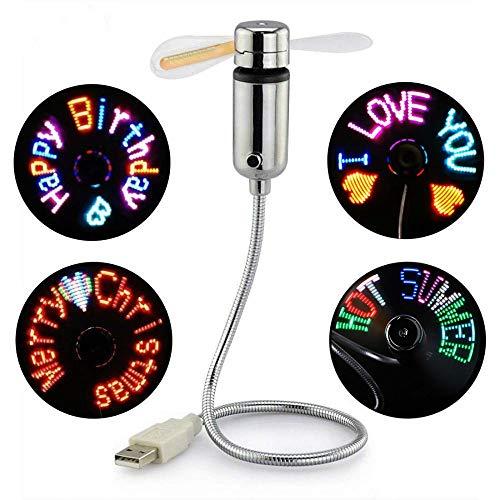 Kbinter Mini USB Fan,New RGB LED Programmable Fan for PC Laptop Notebook Desktops Creative Flexible Gooseneck Colorful DIY Message Cooling Fan (1 Pack)