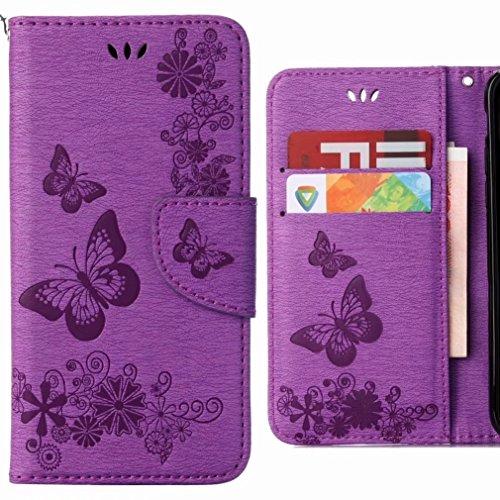 Ougger Hülle für Huawei P20 Lite Handyhüllen, Tasche Leder Schutzhülle Schale Weich TPU Silikon Magnetisch-Stehen Flip Cover Tasche P20 Lite mit Kartensteckplätzen, Schmetterling Streifen (Lila)