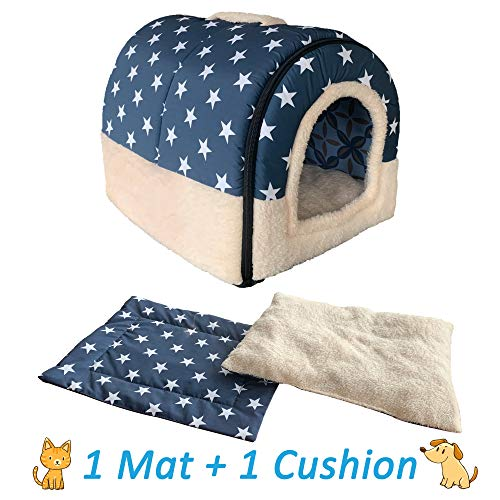 ANPI Dog Igloo Bed, Portable Cat Igloo Bed with 2 Removable Cushions, 2 In 1 Washable Cozy Dog Cat Bed Cave House, Foldable Non-Slip Warm for Pets Puppy Kitten Rabbit