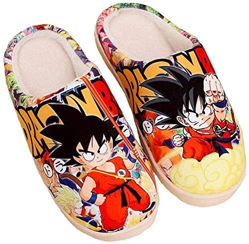 Zapatillas de Estar por Casa Felpa Japonesas Lindas de Anime para Hombres y Mujer de Otoño e Invierno Zapatos Casuales Cálidos Antideslizantes Caseros Dragon Ball-(Mujer42-44/Hombre41-43.5) EU 290