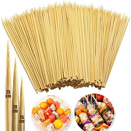250Pcs Spiedini di Bambù Naturale (15 + 25 + 30cm, 3 mm & 4mm di Diametro ) - INTVN Spiedini in legno, Robusto Marshmallow Sticks - Perfetto per frutta e fontana di cioccolato, 100% Biodegradabile