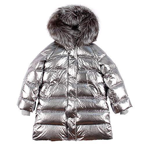 WEIYYY Damen Daunenmantel Silber glänzender a Mantel Kragen Langer Wintermantel, 2, M.
