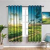 Naturaleza paisaje decoración negro ventana cortina viva verano con una impresión dramática de camino rural y cielo Deco Home Artprint Mantener buen sueño verde azul W72 x L72 pulgadas