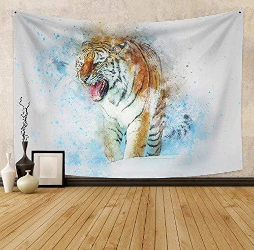Tapisserie Roaring Tiger Aquarell Art Artwork Wandverzierungen Dekorative Wandtuch Strandtuch Schlafzimmer Wohnzimmer Ornamente 150cm x 200 cm